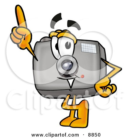 Clipart Picture of a Camera Mascot Cartoon Character Pointing Upwards by Toons4Biz
