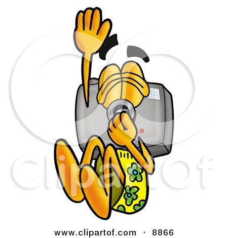 Clipart Picture of a Camera Mascot Cartoon Character Plugging His Nose While Jumping Into Water by Toons4Biz