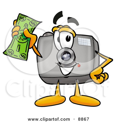 Clipart Picture of a Camera Mascot Cartoon Character Holding a Dollar Bill by Toons4Biz