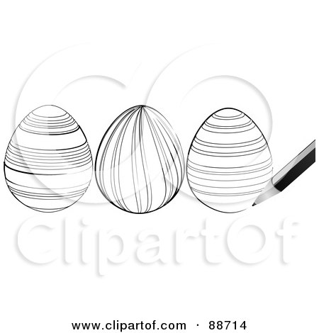 Royalty-Free (RF) Clipart Illustration of a Pen Sketching Black And White Easter Eggs by elaineitalia