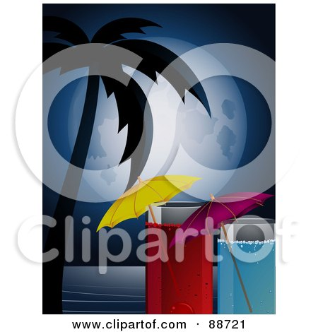 Royalty-Free (RF) Clipart Illustration of a Full Moon Over A Silhouetted Palm Tree, The Sea And Cocktails by elaineitalia