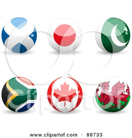 Royalty-Free (RF) Clipart Illustration of a Digital Collage Of Shiny 3d Scotland, Japan, Pakistan, South African, Canada And Whales Spheres by elaineitalia