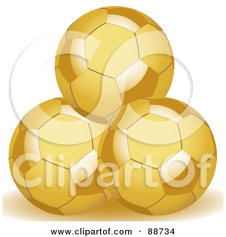 Three Stacked Golden Soccer Balls Posters, Art Prints