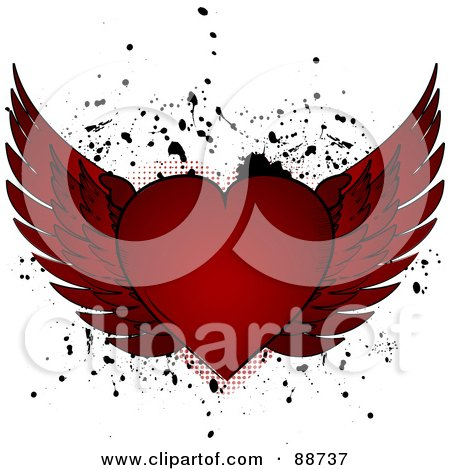 Royalty-Free (RF) Clipart Illustration of a Red Winged Heart Over Black Splatters On White by elaineitalia