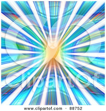 Royalty-Free (RF) Clipart Illustration of a Blue And Green Vortex With White Zoom Lines by Arena Creative