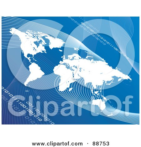 Royalty-Free (RF) Clipart Illustration of a White Atlas Over Blue With Mesh Waves And Binary Code by Arena Creative