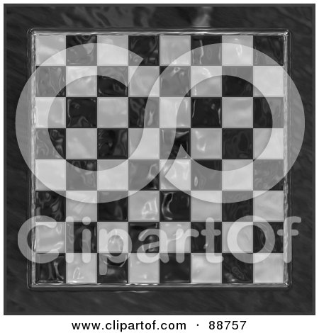 Royalty-Free (RF) Clipart Illustration of a Shiny Glass Checkered Chess Board by Arena Creative
