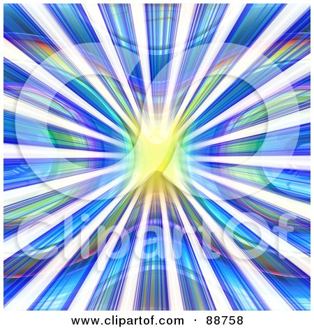 Royalty-Free (RF) Clipart Illustration of a Yellow Light And Rays In A Vortex Of Blue, Purple And Green by Arena Creative