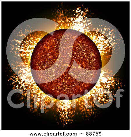 Royalty-Free (RF) Clipart Illustration of a Fiery Planet With A Blazing Atmosphere by Arena Creative