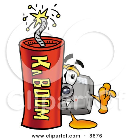 Clipart Picture of a Camera Mascot Cartoon Character Standing With a Lit Stick of Dynamite by Toons4Biz