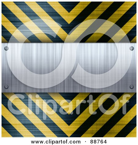 Royalty-Free (RF) Clipart Illustration of a Blank Brushed Aluminum Plaque Bordered With Black And Yellow Hazard Stripes by Arena Creative