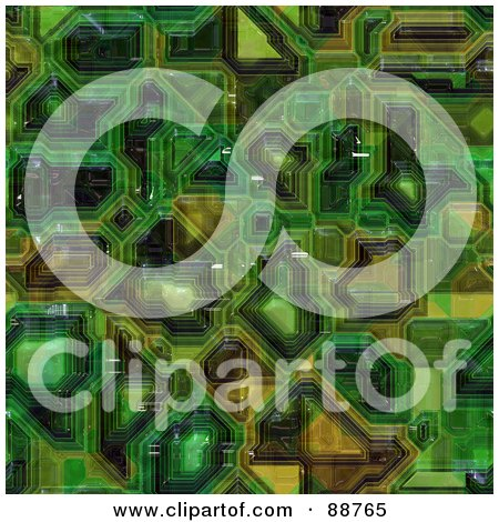 Royalty-Free (RF) Clipart Illustration of a Green Computer Circuitry Background Pattern by Arena Creative