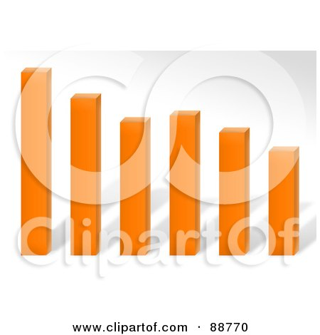 Royalty-Free (RF) Clipart Illustration of a 3d Orange Declining Bar Graph Over Gray by Arena Creative
