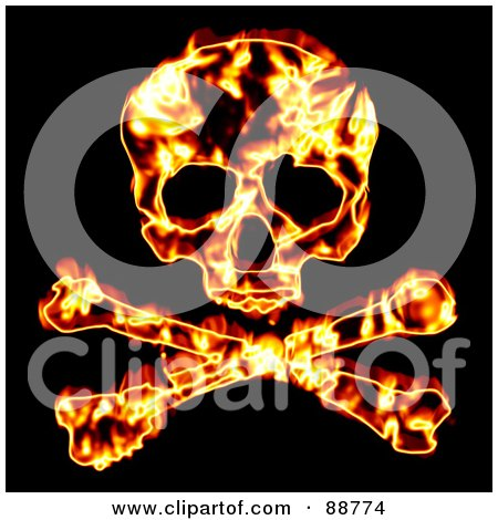 Royalty-Free (RF) Clipart Illustration of a Fiery Skull With Crossbones Over Black by Arena Creative