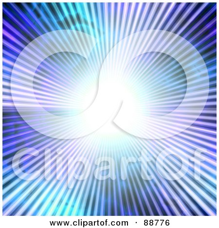 Royalty-Free (RF) Clipart Illustration of a Bright White Light And Rays Over Purple And Blue by Arena Creative