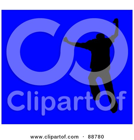 Royalty-Free (RF) Clipart Illustration of a Jumping Silhouetted Man Over Blue by Arena Creative