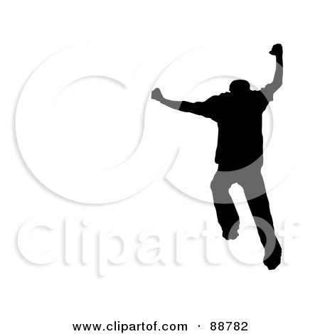Royalty-Free (RF) Clipart Illustration of a Jumping Silhouetted Man Over White by Arena Creative