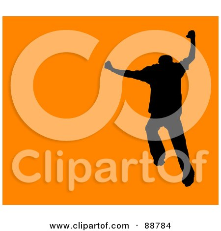 Royalty-Free (RF) Clipart Illustration of a Jumping Silhouetted Man Over Orange by Arena Creative