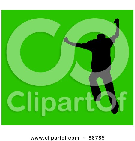 Royalty-Free (RF) Clipart Illustration of a Jumping Silhouetted Man Over Green by Arena Creative