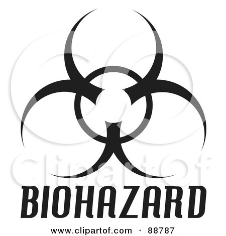 Royalty-Free (RF) Clipart Illustration of a Black Bio Hazard Symbol With Text Over White by Arena Creative