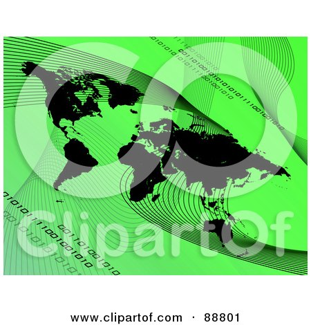 Royalty-Free (RF) Clipart Illustration of a Black Atlas With Mesh Waves And Binary Over Green by Arena Creative