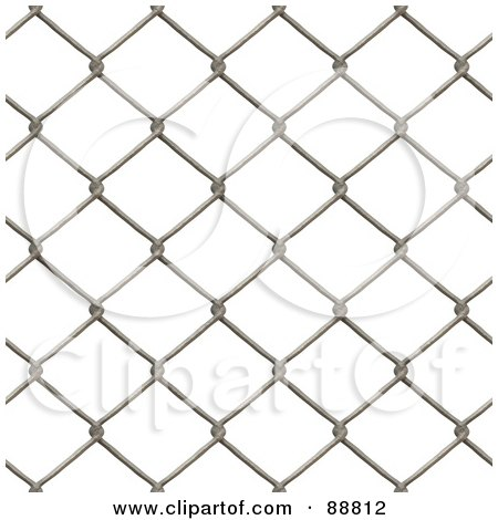 Royalty-Free (RF) Clipart Illustration of a Chain Link Fence Background Over White by Arena Creative