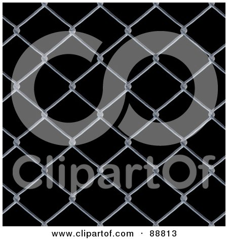 Royalty-Free (RF) Clipart Illustration of a Chain Link Fence Background Over Black by Arena Creative