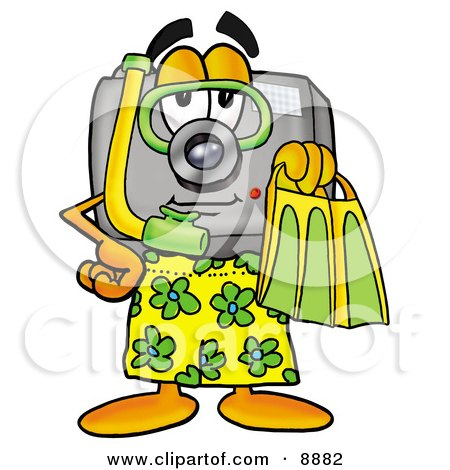 Camera Mascot Cartoon Character in Green and Yellow Snorkel Gear Posters, Art Prints