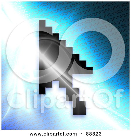 Royalty-Free (RF) Clipart Illustration of a Black Cursor Over A Bright Blue Binary Background by Arena Creative