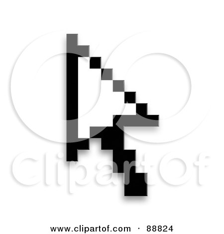 Royalty-Free (RF) Clipart Illustration of a Black Pixelated Cursor Over White by Arena Creative