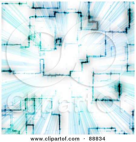 Royalty-Free (RF) Clipart Illustration of a Blue Circuitry Vortex by Arena Creative