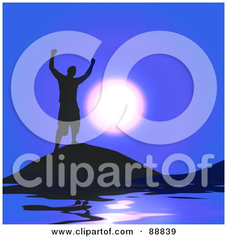Royalty-Free (RF) Clipart Illustration of a Successful Silhouetted Guy Against A Blue Sky And Moon by Arena Creative