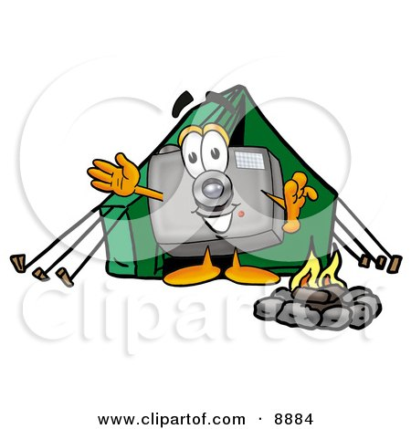Camera Mascot Cartoon Character Camping With a Tent and Fire Posters, Art Prints