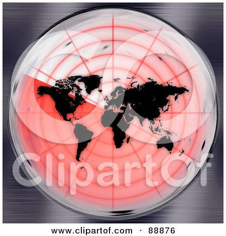 Royalty-Free (RF) Clipart Illustration of a Black Atlas On A Red Radar Screen by Arena Creative