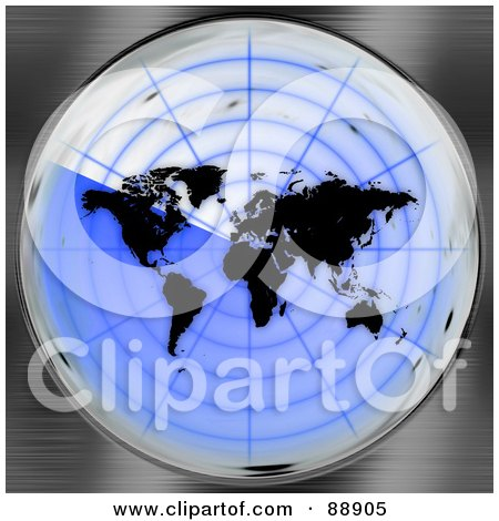 Royalty-Free (RF) Clipart Illustration of a Black Atlas On A Blue Radar Screen by Arena Creative