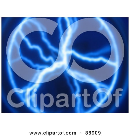 Royalty-Free (RF) Clipart Illustration of a Blue Plasma Lightning Background by Arena Creative