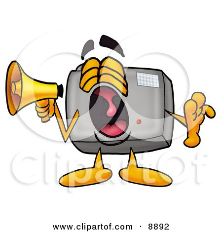 Clipart Picture of a Camera Mascot Cartoon Character Screaming Into a Megaphone by Toons4Biz