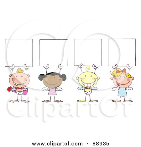 Royalty-Free (RF) Clipart Illustration of a Group Of Stick Cupids Holding Blank Signs by Hit Toon