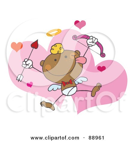 Royalty-Free (RF) Clipart Illustration of a Black Stick Cupid With A Bow And Arrow by Hit Toon