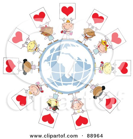 Royalty-Free (RF) Clipart Illustration of Stick Cupids Holding Up Heart Signs Around A Globe by Hit Toon