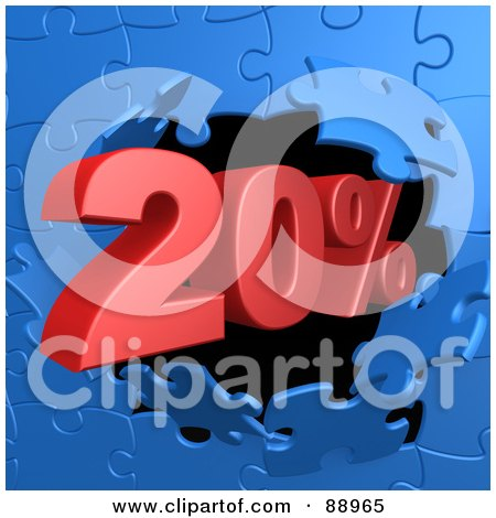 Royalty-Free (RF) Clipart Illustration of a 20 Percent Off Discount Breaking Through A Blue Puzzle Wall by 3poD