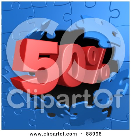 Royalty-Free (RF) Clipart Illustration of a 50 Percent Off Discount Breaking Through A Blue Puzzle Wall by 3poD