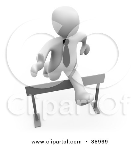 Royalty-Free (RF) Clipart Illustration of a 3d White Person Leaping Over A Hurdle by 3poD