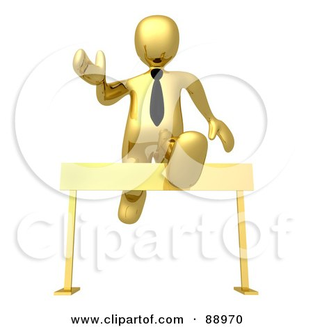 Royalty-Free (RF) Clipart Illustration of a 3d Gold Person Leaping Over A Hurdle by 3poD
