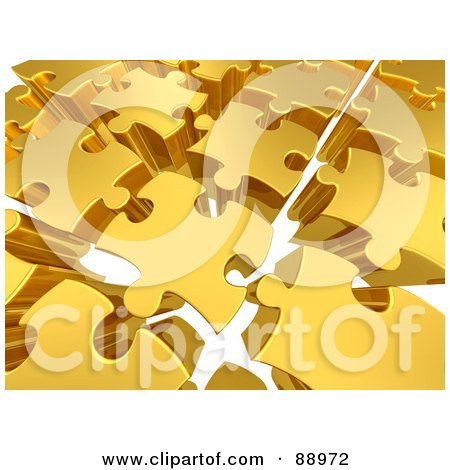 Royalty-Free (RF) Clipart Illustration of a Background Of 3d Golden Puzzle Pieces With Space Between, Over White by 3poD