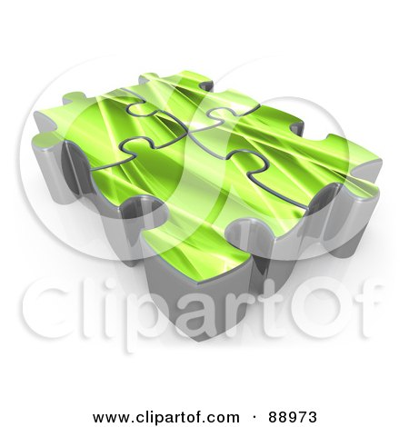 Royalty-Free (RF) Clipart Illustration of Four 3d Green Puzzle Pieces Linked Together by 3poD