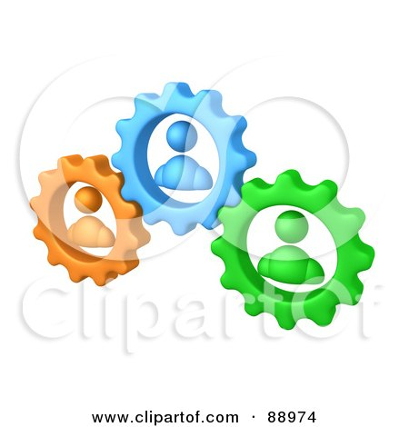 Royalty-Free (RF) Clipart Illustration of Green, Orange And Blue People Inside Gears, Working Together To Solve A Problem by 3poD