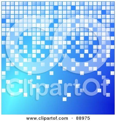 Royalty-Free (RF) Clipart Illustration of a Blue Background With Pixel Blocks by Prawny
