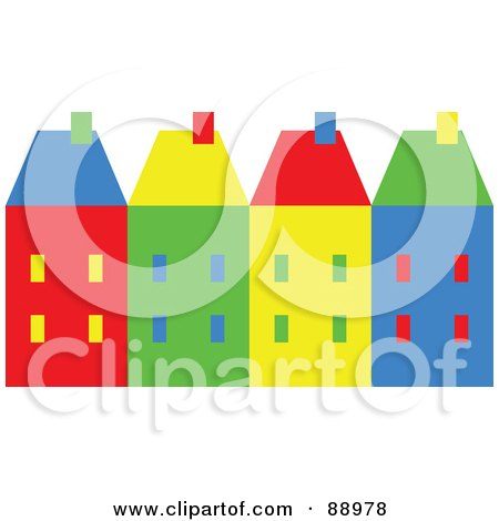 Royalty-Free (RF) Clipart Illustration of a Row Of Colorful Village Homes by Prawny