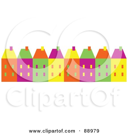 Royalty-Free (RF) Clipart Illustration of a Row Of Colorful Town Homes by Prawny